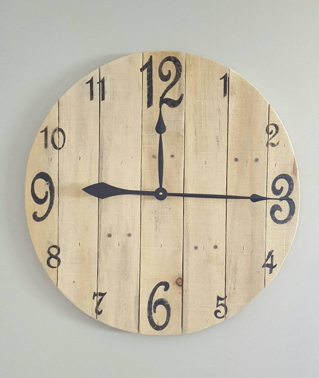 Large Pallet Clock Wood Wall Rustic