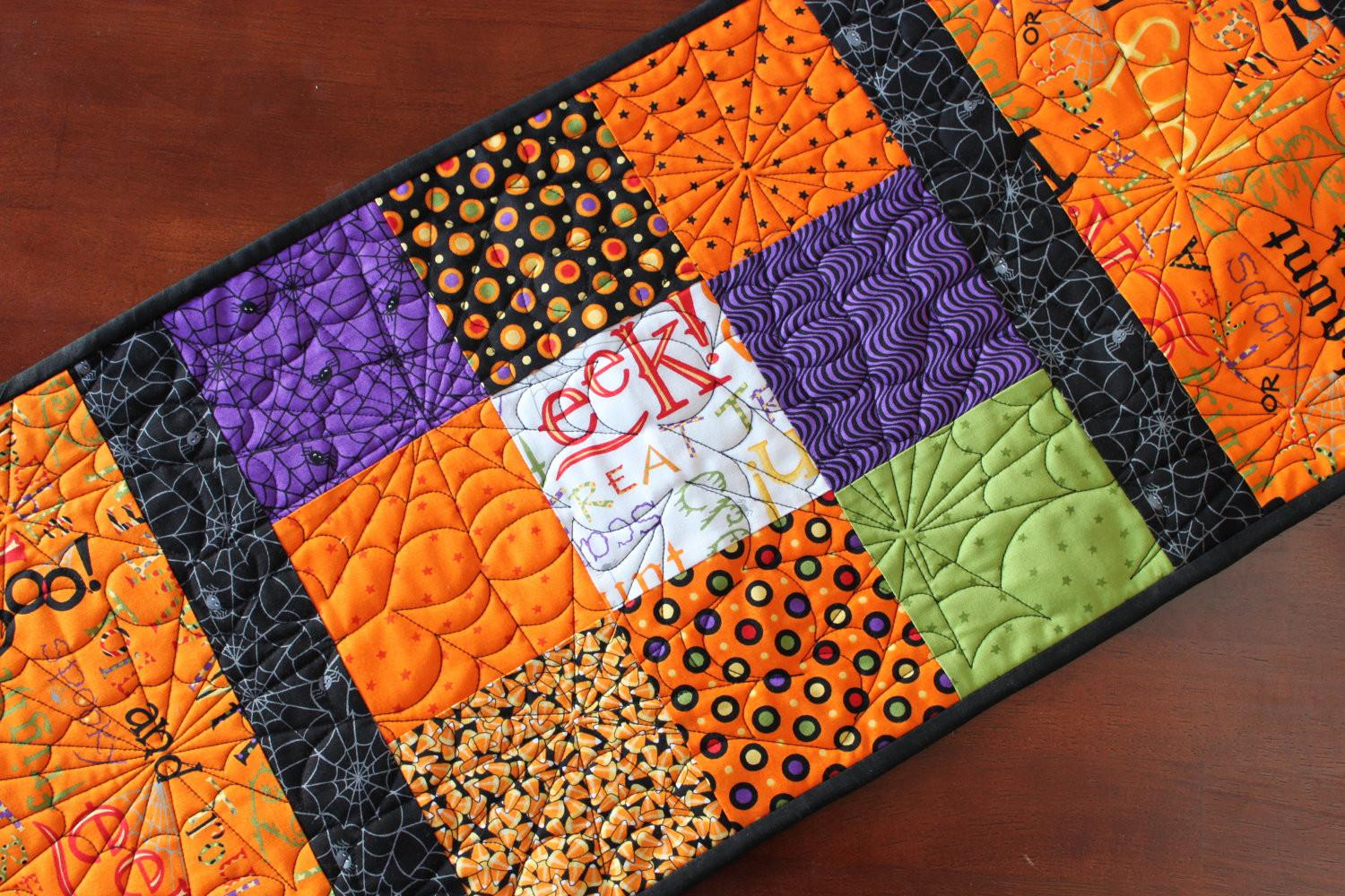 Large Quilted Halloween Table Runner Jennymsquilts Etsy