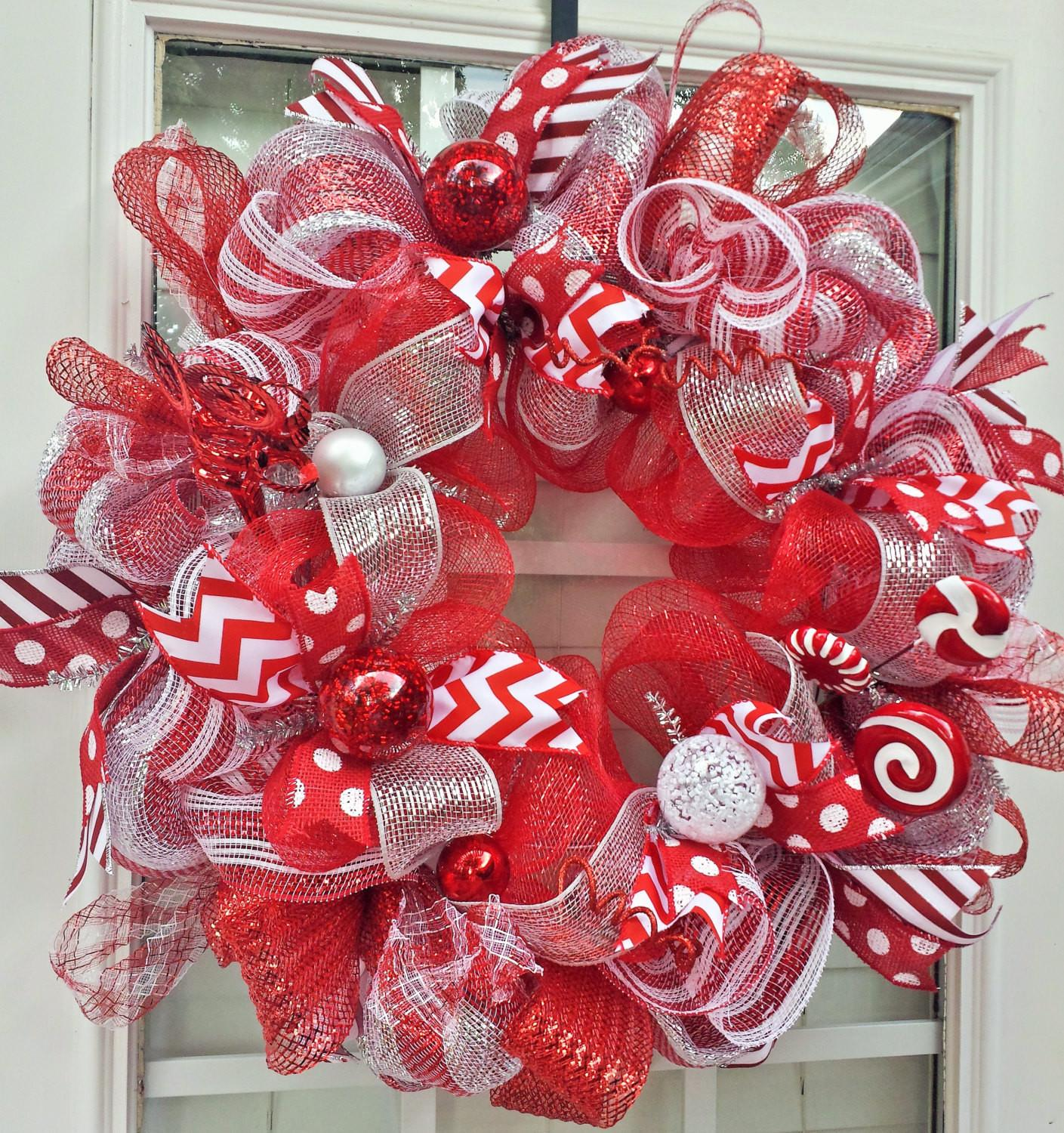Large Red White Christmas Mesh Wreath Holiday