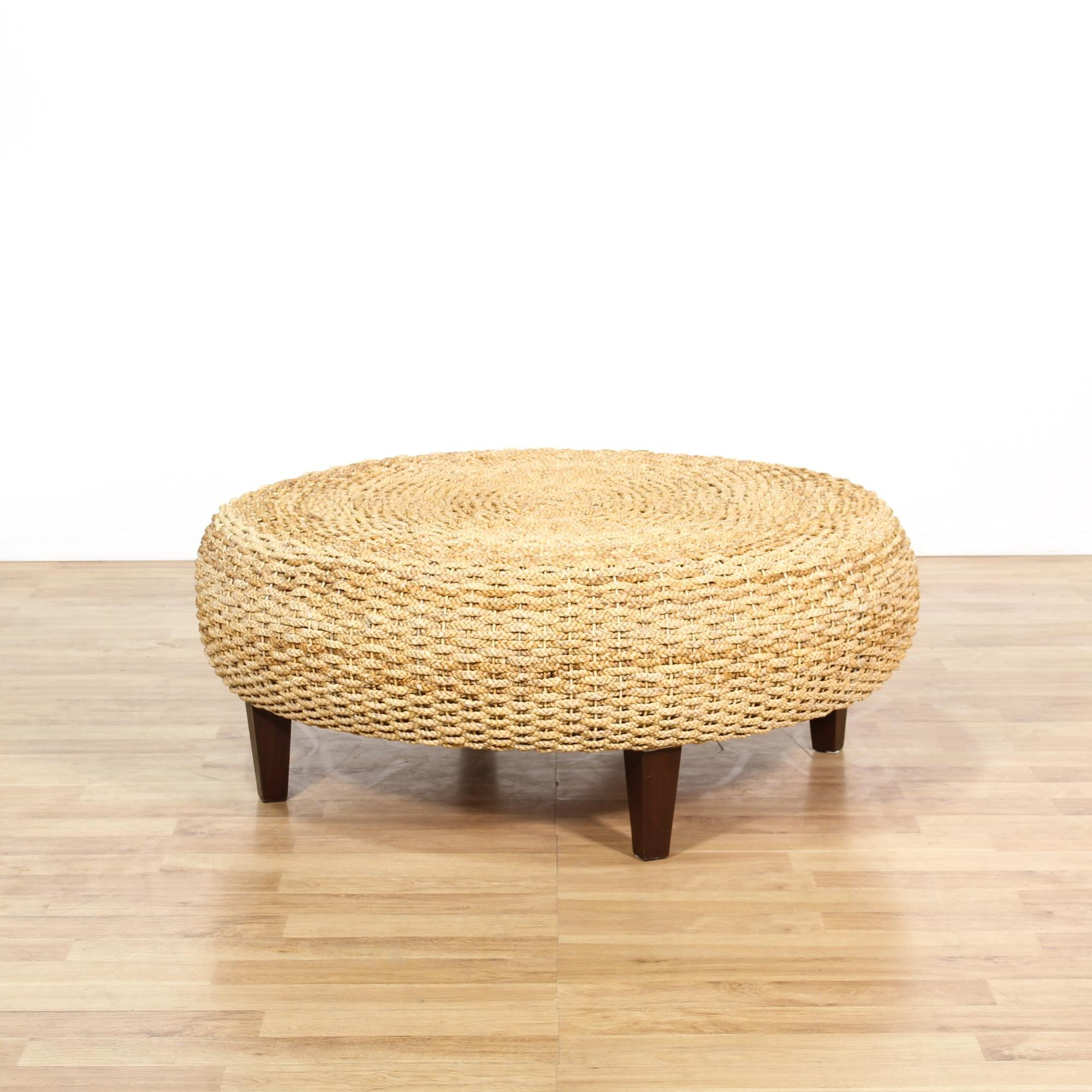 Large Rope Woven Ottoman Coffee Table Loveseat Vintage
