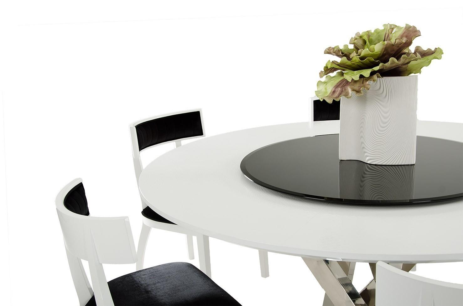Large Round Modern Dining Table Also Black Room Leaf