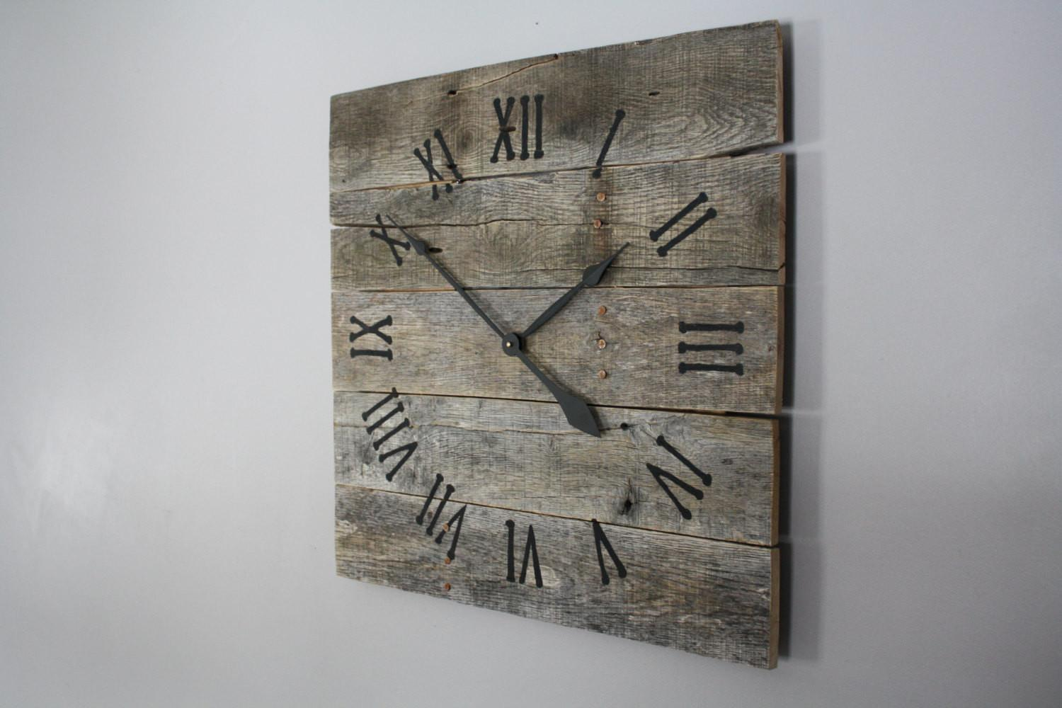 Large Rustic Wall Clock Gray Washed Color Raw Wood