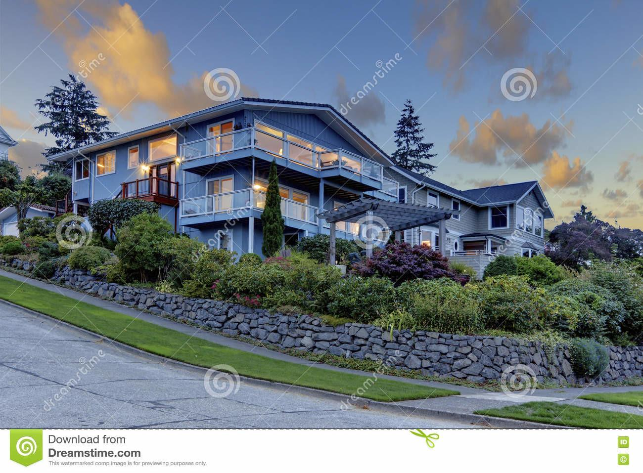 Large Three Story Tall Blue House Summer Landscape