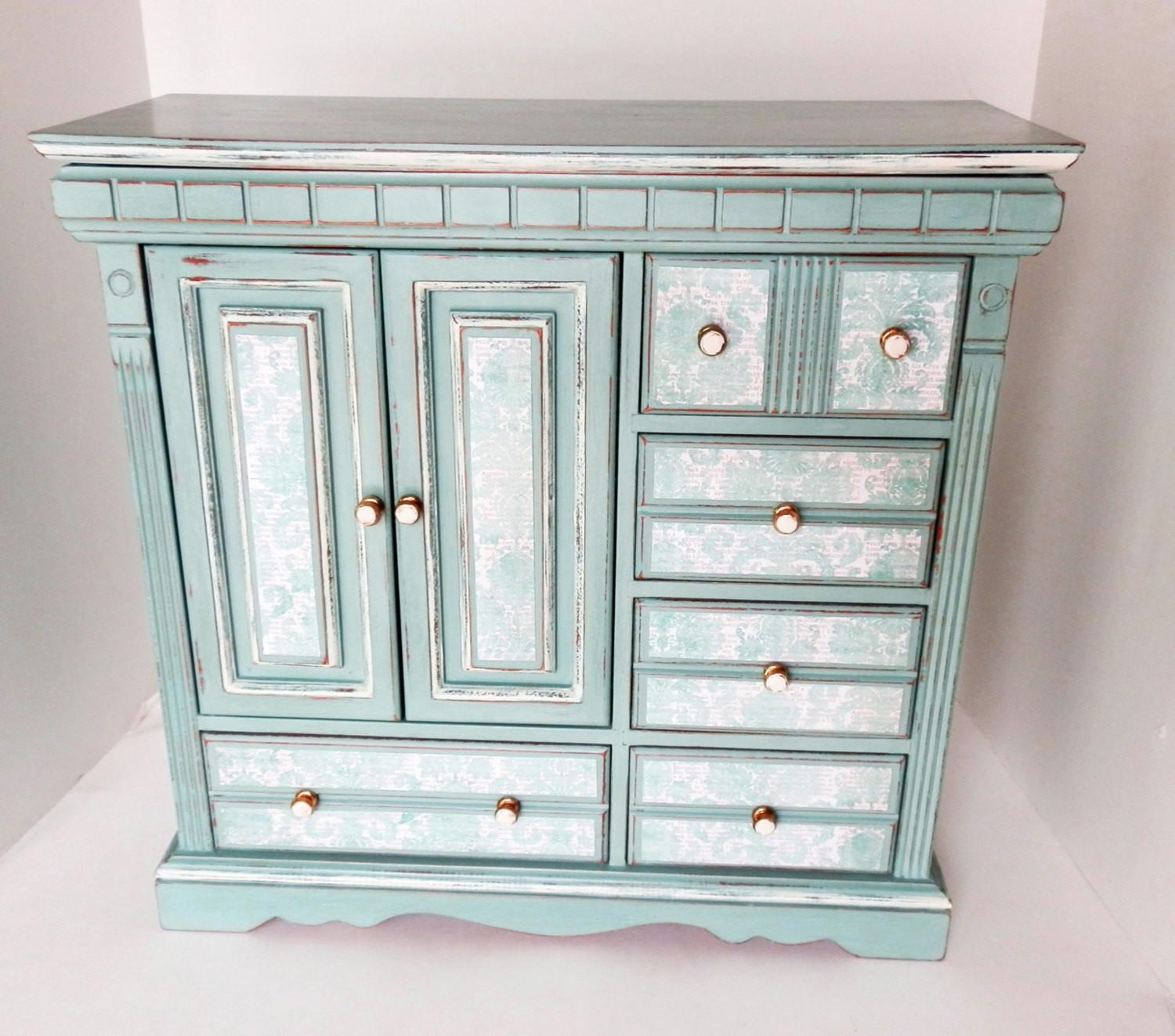 Large Upcycled Jewelry Box Chest Ladies Girls