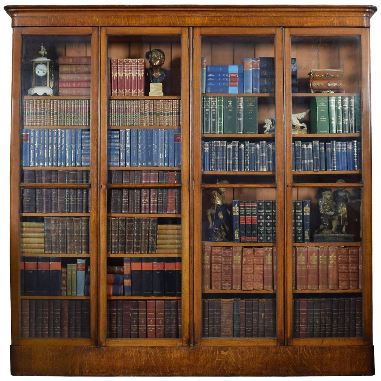 Large Victorian Oak Four Door Glazed Library Bookcase