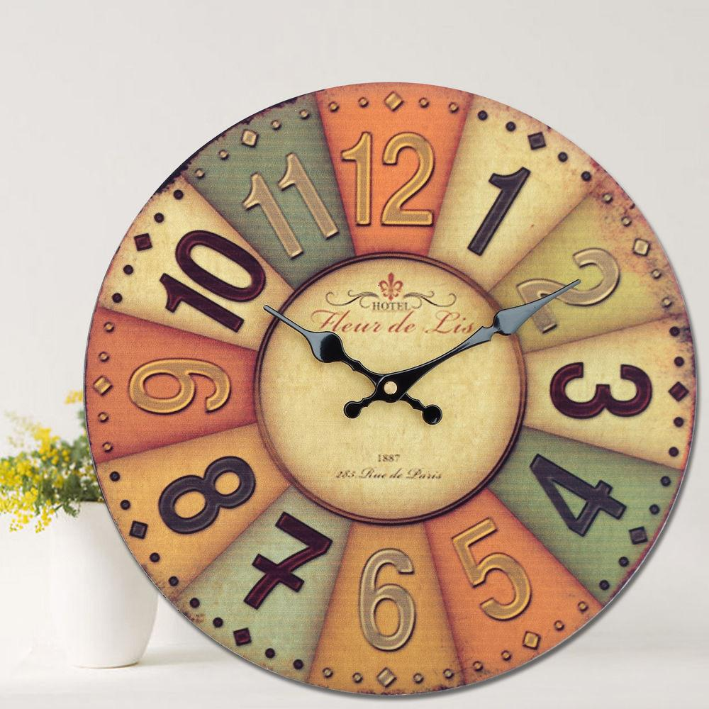 Large Vintage Rustic Style Painted Wooden Wall Clock Home