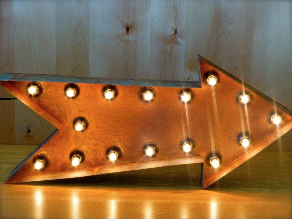 Large Vintage Style Light Marquee Arrow Long