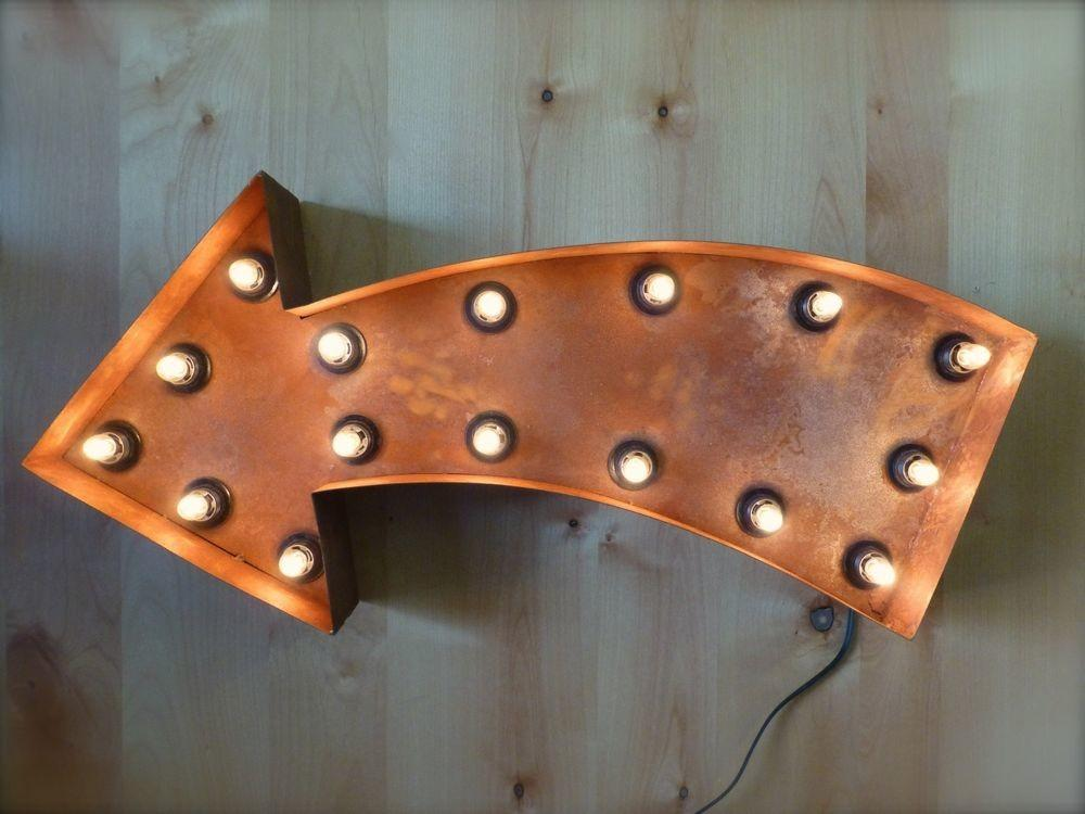 Large Vintage Style Light Marquee Curved Arrow