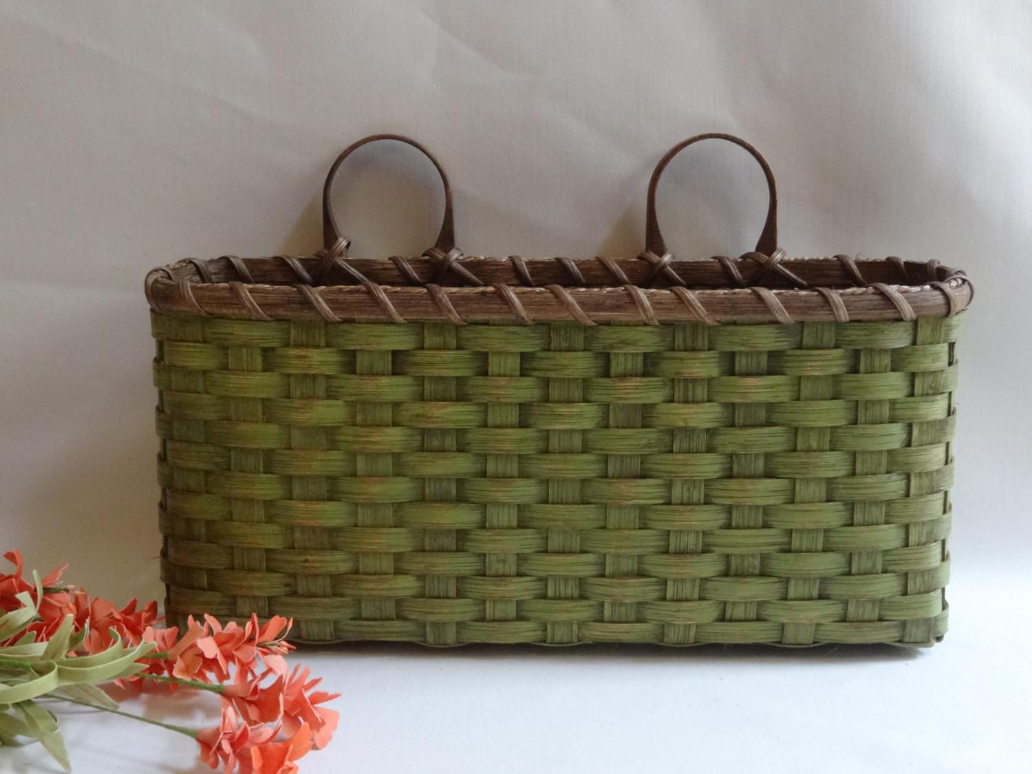 Large Wall Basket Decor Handwoven Primitive Style