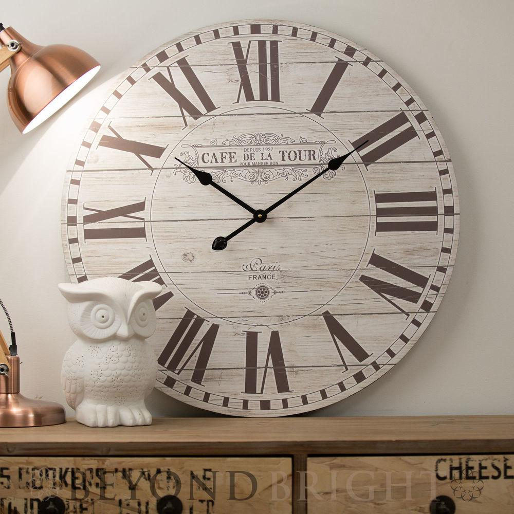 Large Wall Clock 70cm Cafe Tour Wooden Rustic