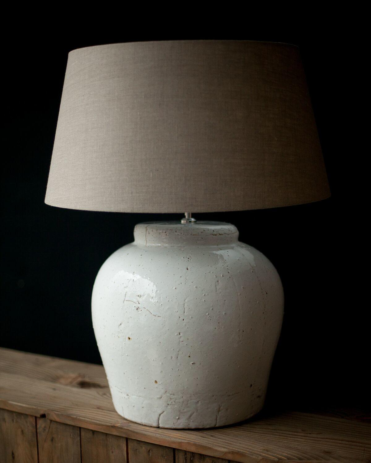 Large White Ceramic Table Lamp Including Shade Willow