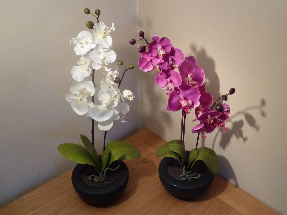 Large White Pink Orchid Artificial Potted Plant