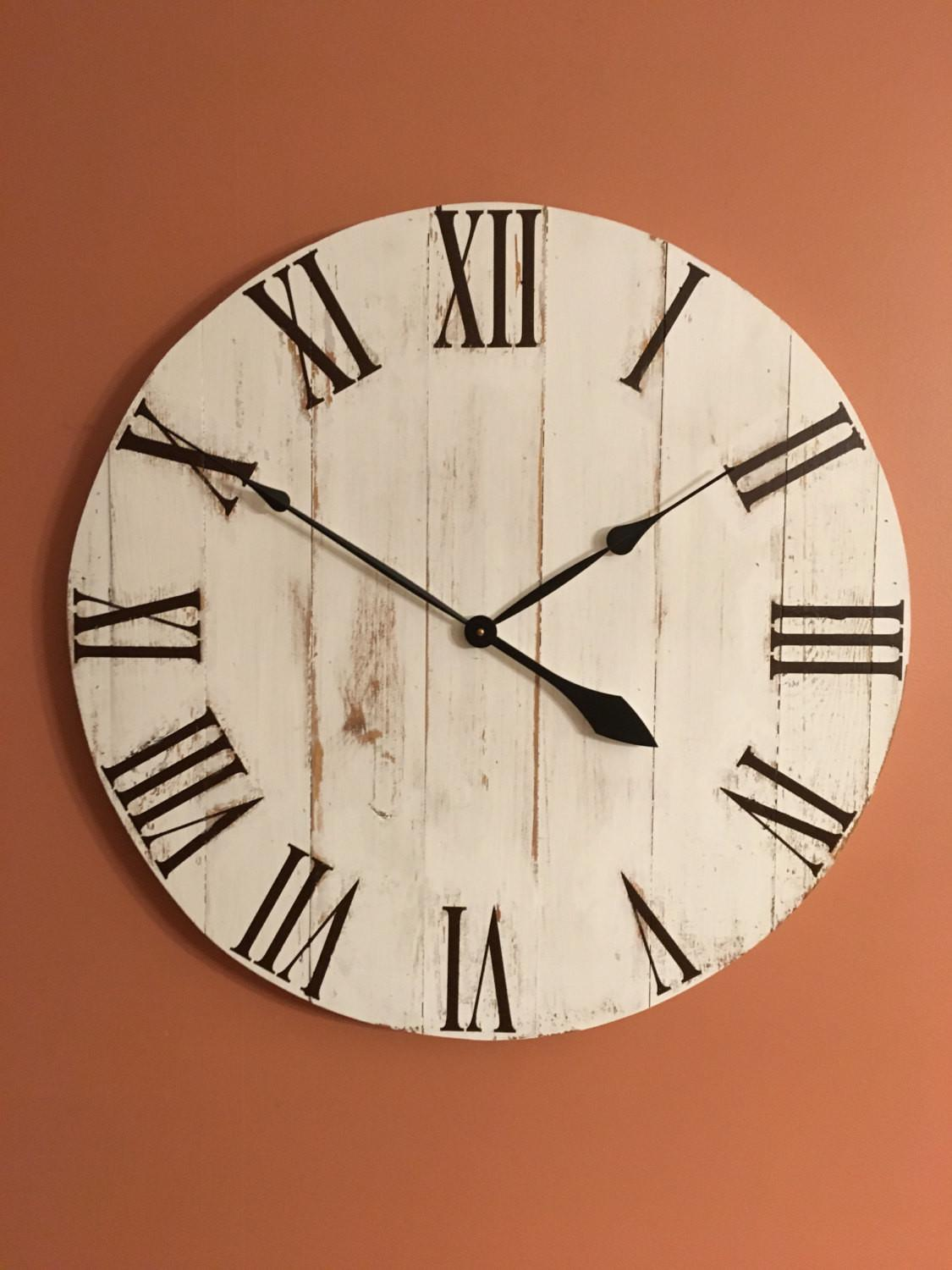 Large White Rustic Wood Clock Pallet Reclaimed