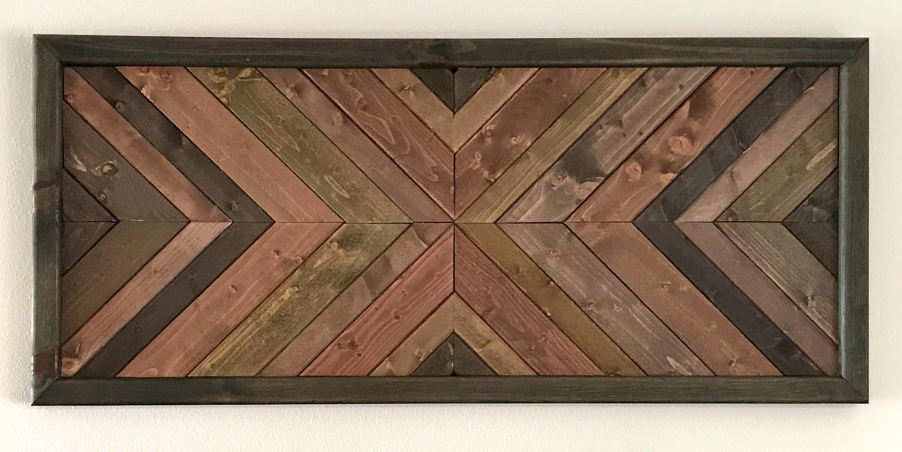 Large Wooden Geometric Quilted Rustic Wall Art