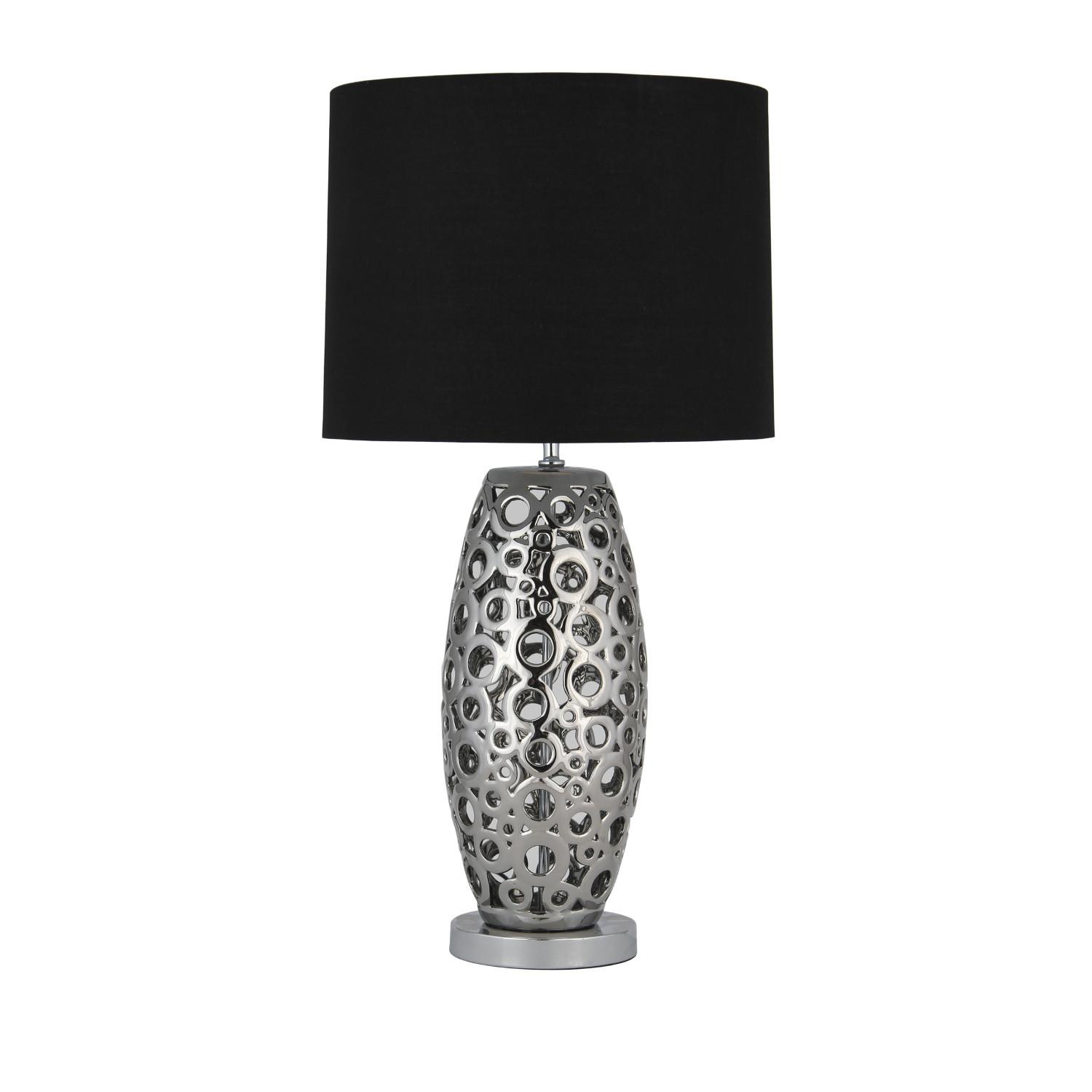 Laser Cut Ceramic Table Lamp Silver Shade Next