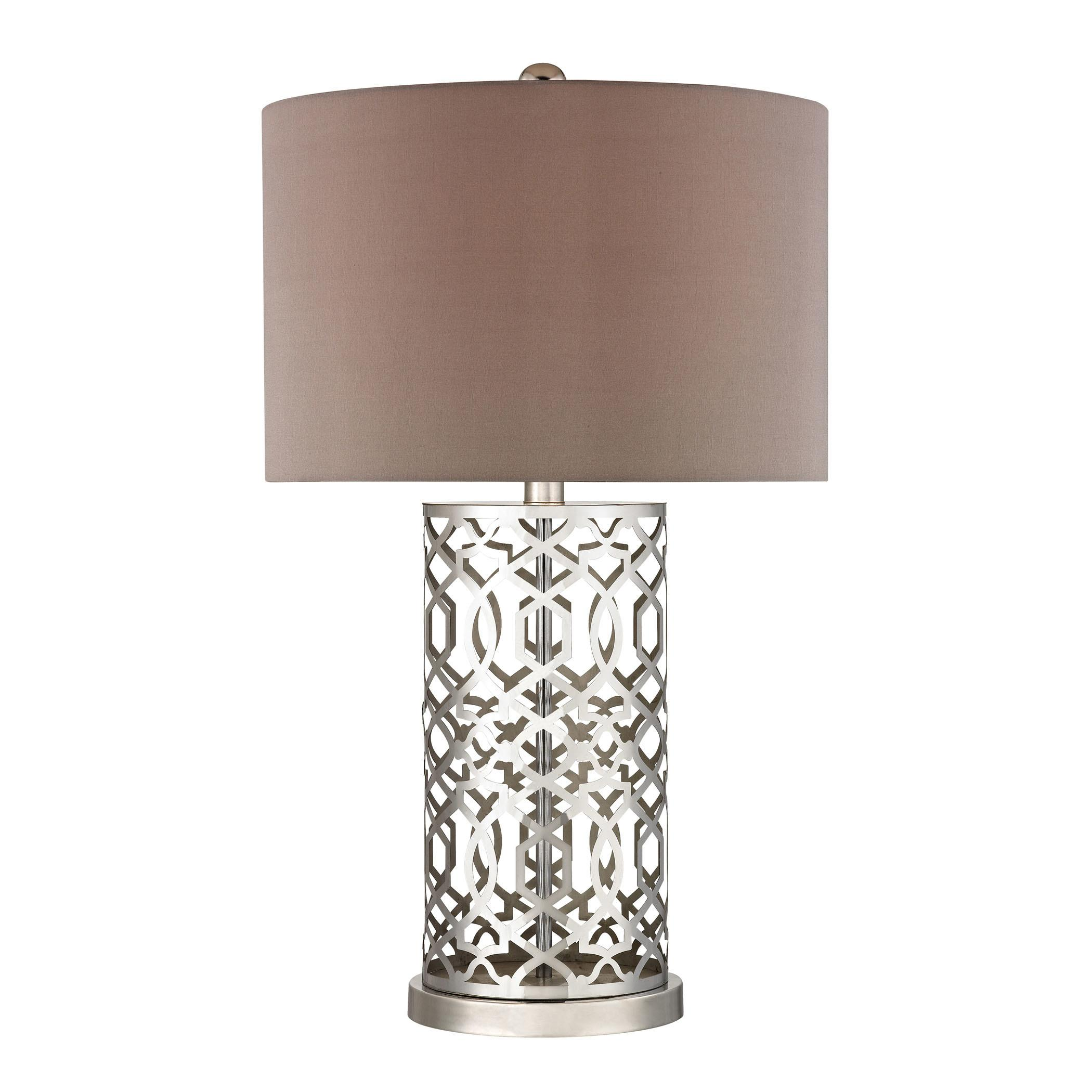 Laser Cut Metal Table Lamp Polished Nickel Dimond