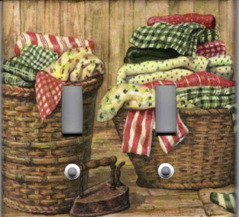 Laundry Baskets Home Decor Double Light Switch Plate