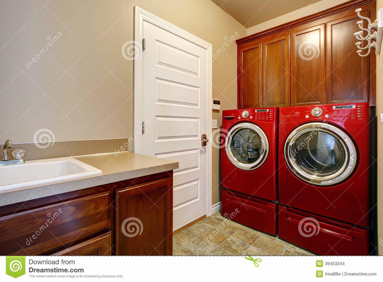 Laundry Room Modern Red Appliances Stock