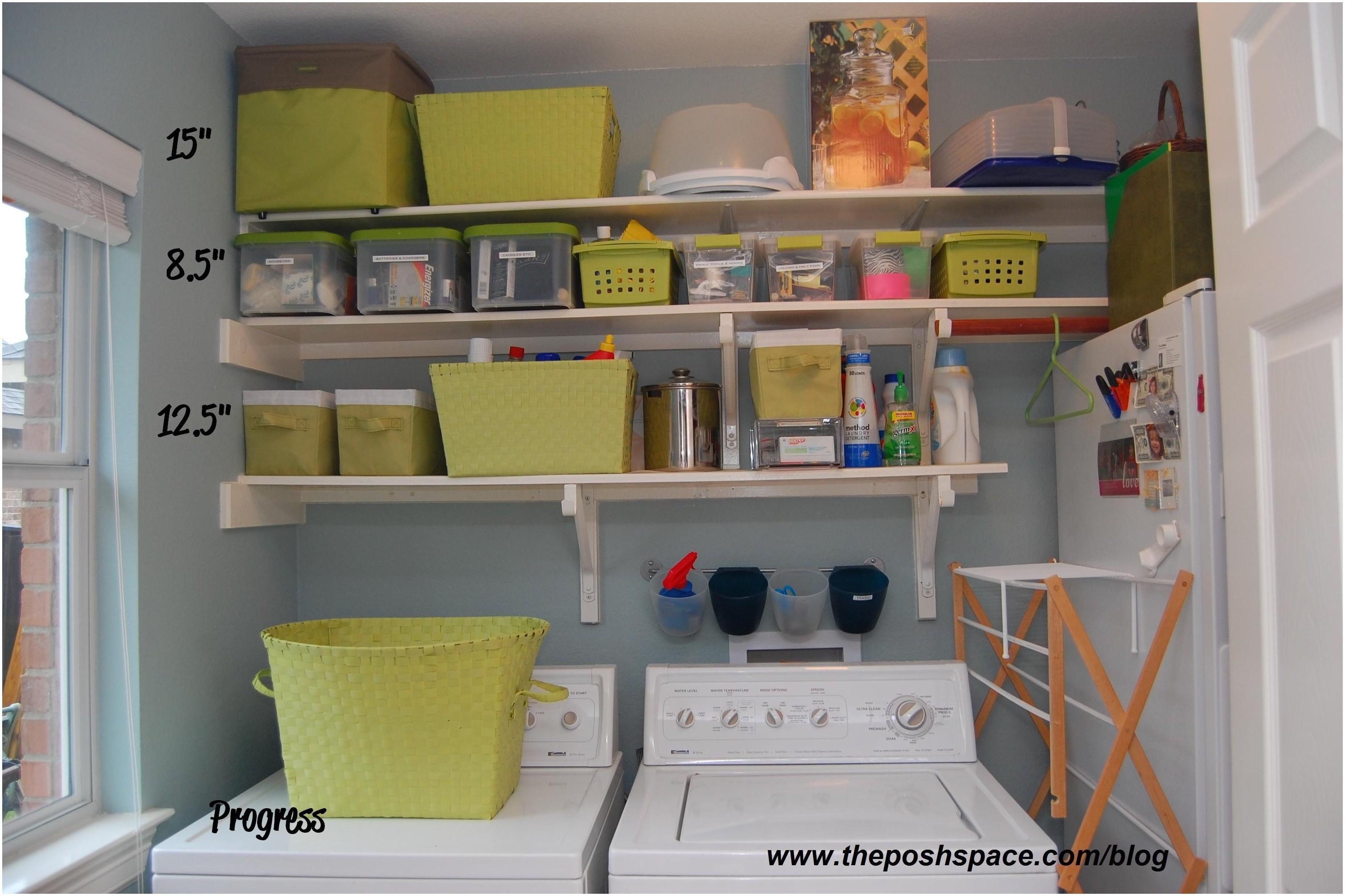 Laundry Room Shelf Rod Storage Diy