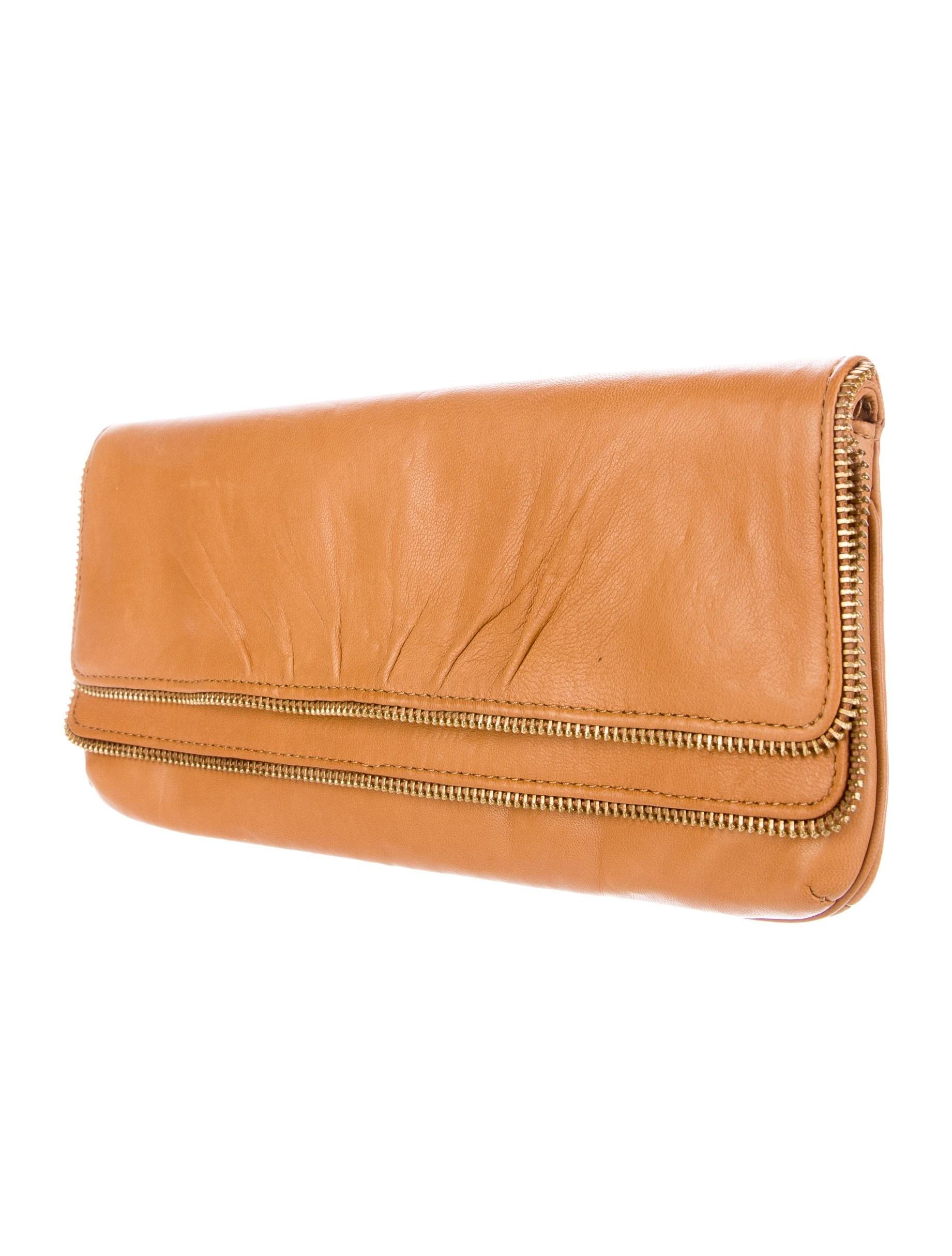 Lauren Merkin Leather Flap Clutch Handbags Wl
