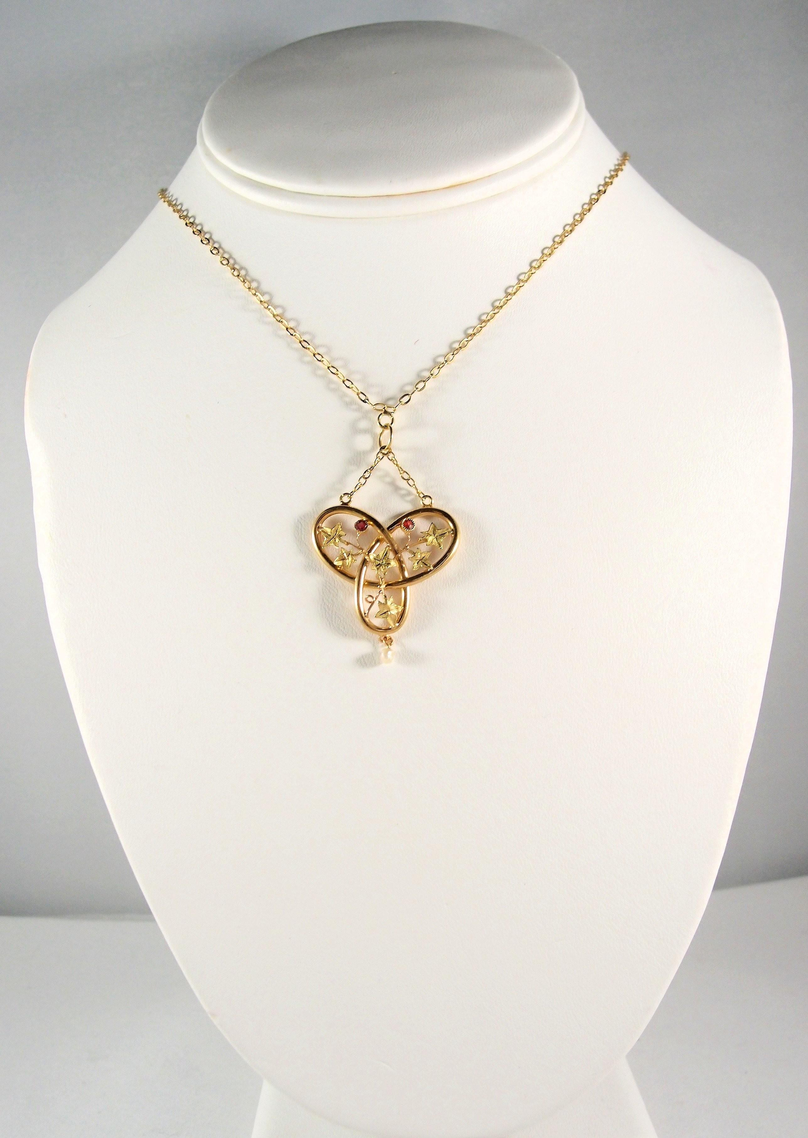Lavalier Stamped French 18k Solid Gold Necklace Multitone
