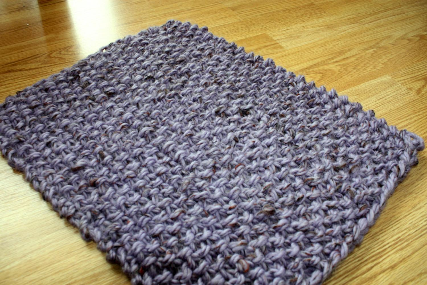 Lavender Purple Rug Hand Knitted Chunky Door Mat Rectangular