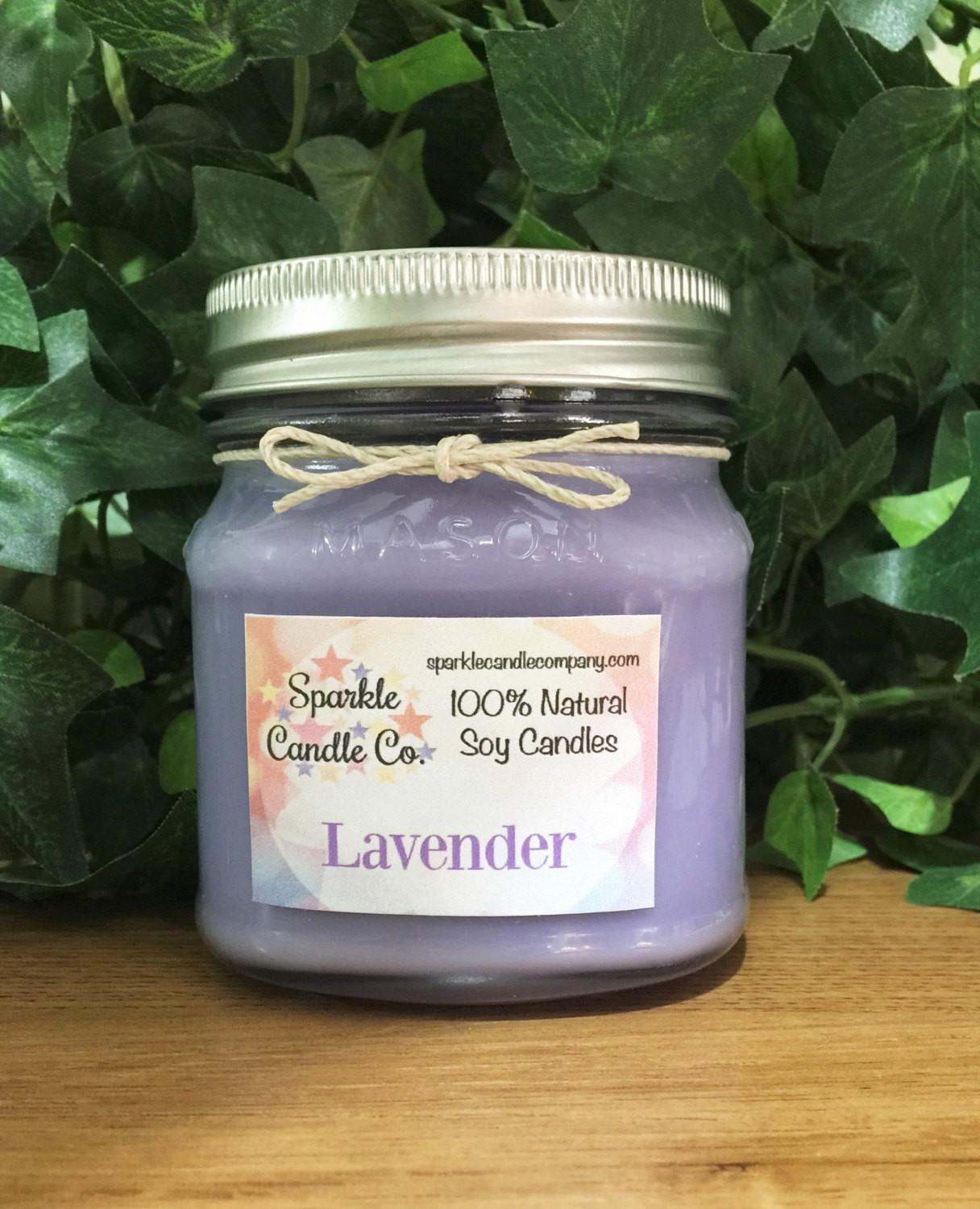 Lavender Scented Soy Candle Mason Jar