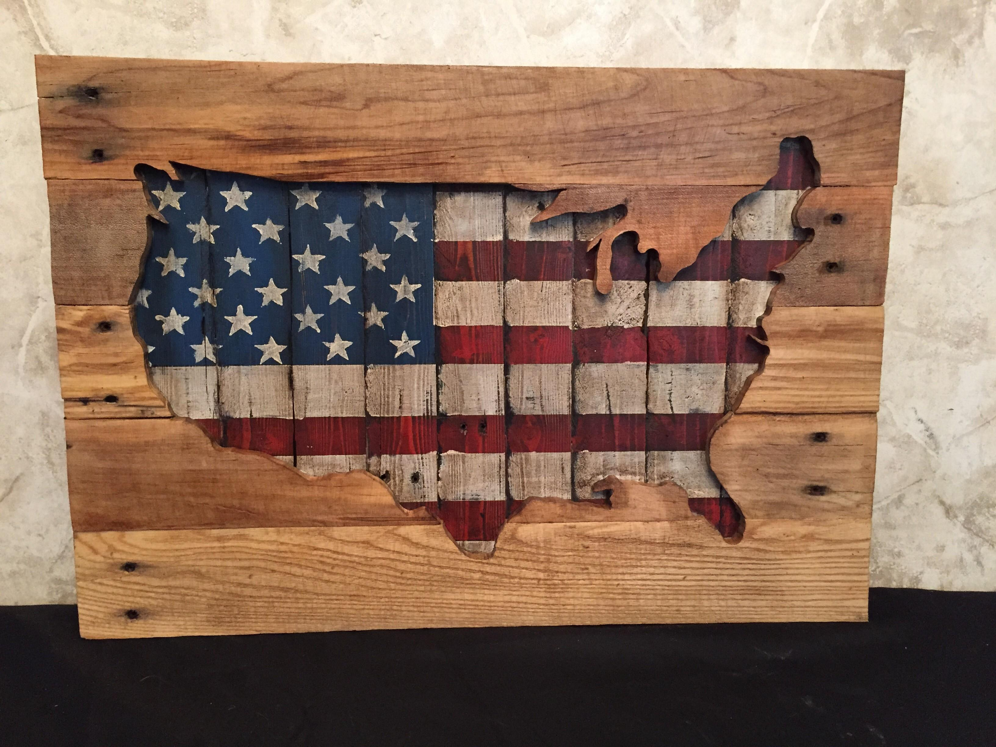 Layered Reclaimed Wood Usa Cutout Multiple Sizes
