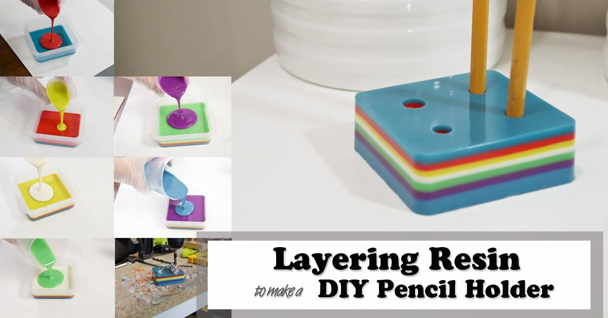 Layering Resin Diy Pencil Holder Crafts