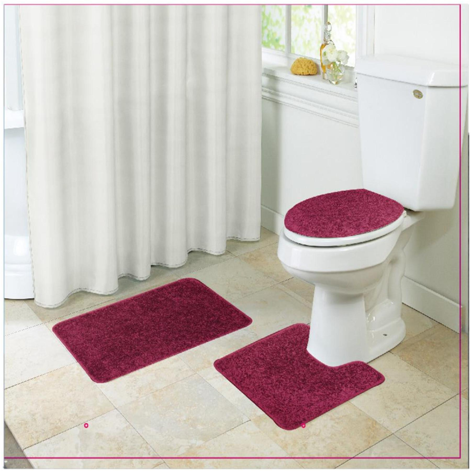 Layla Shaggy Style Piece Bathroom Set Bath Mat Contour