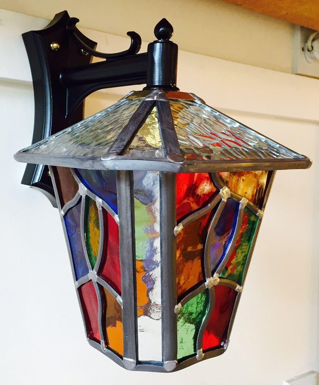 Leaded Outdoor Lantern Stained Glass Multi Coloured