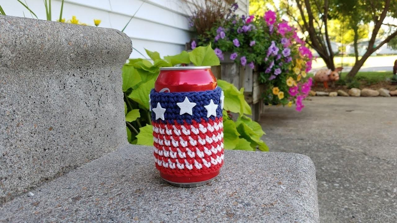 Learn Crochet Easy July 4th Can Cooler Cozy
