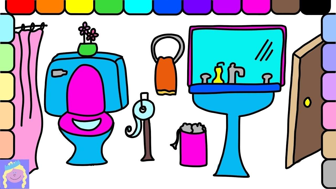 Learn Draw Color Bathroom Easy Drawing