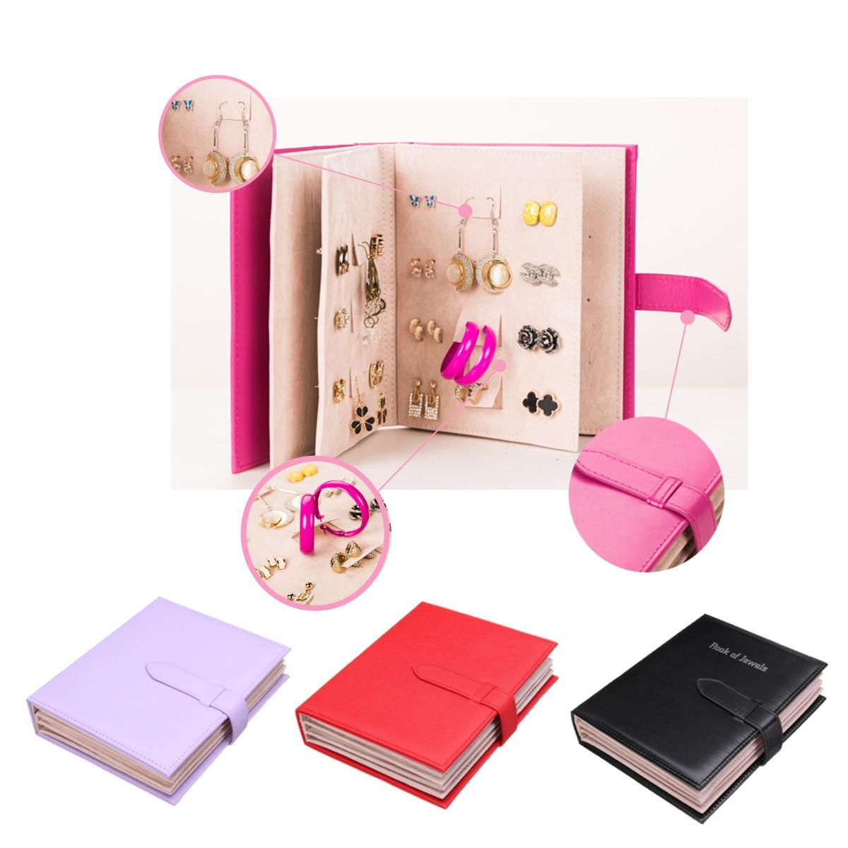Leather Book Style Earrings Jewelry Organizer Display