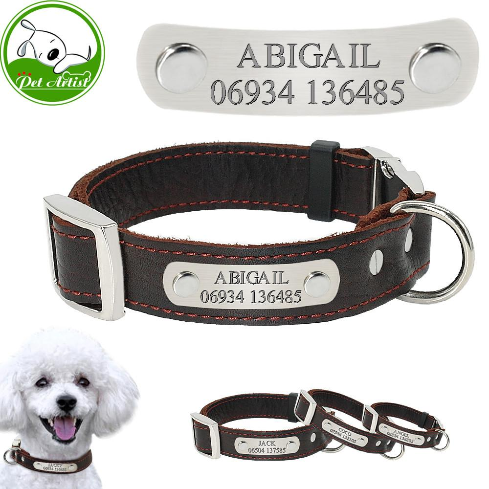 Leather Engraved Pet Dog Collars Personalized Custom
