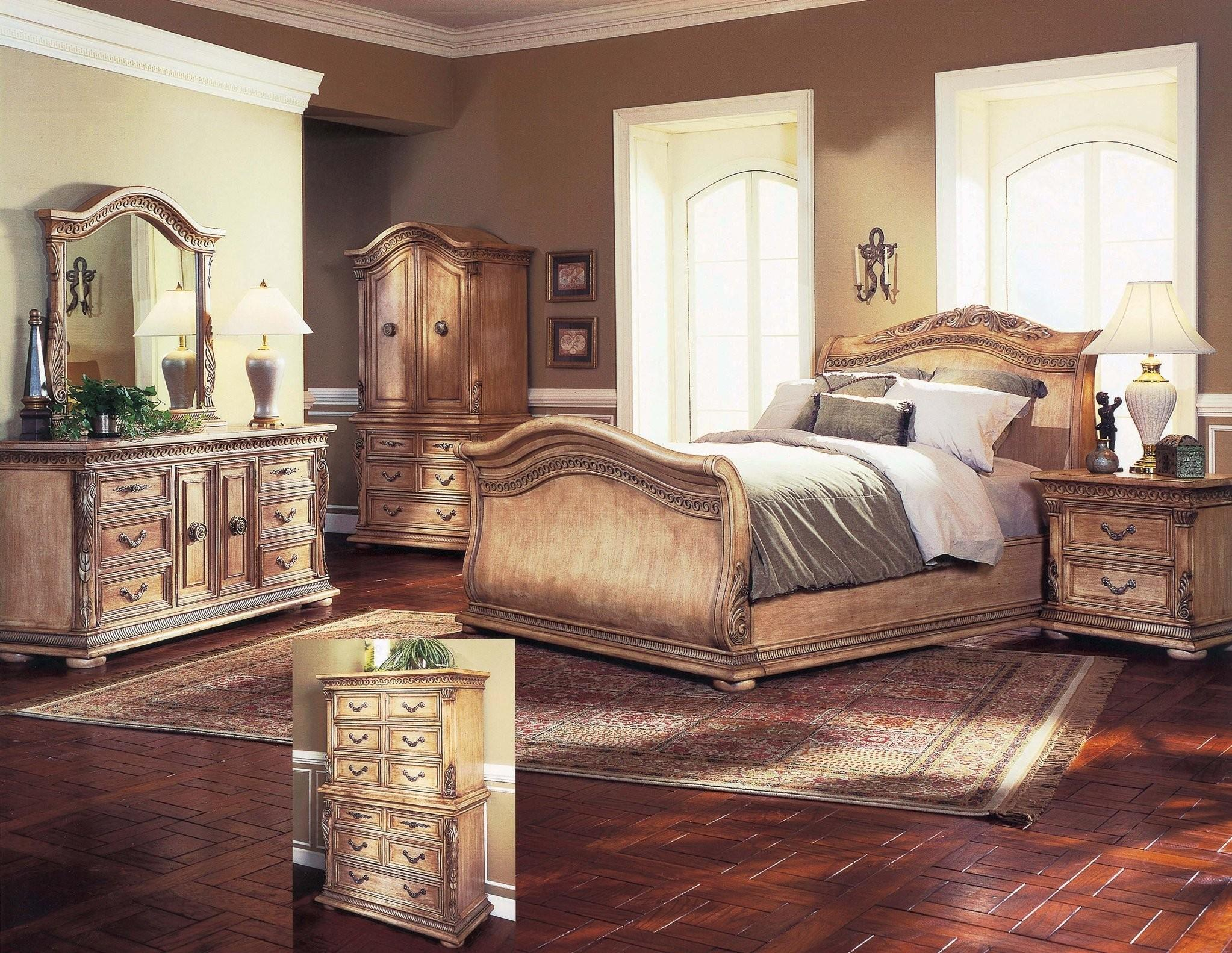 Leather Sleigh Bed Traditional Furniture