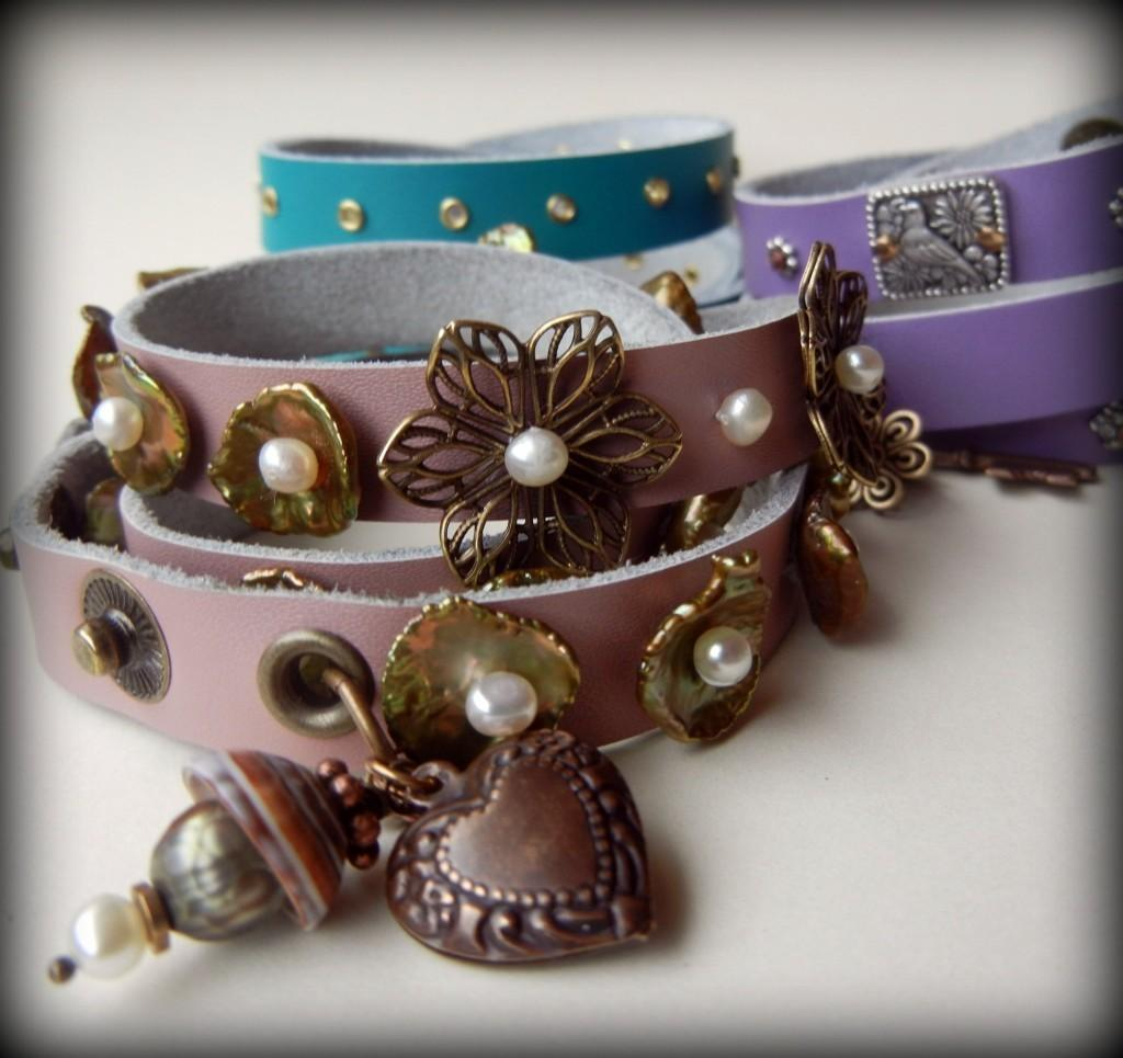 Leather Strap Wrap Bracelets Bright New Colors Rings