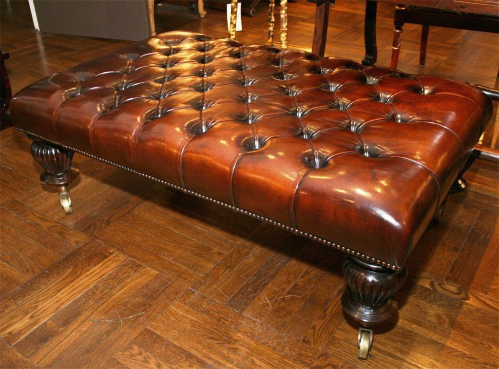 Leather Tufted Ottoman Coffee Table Design