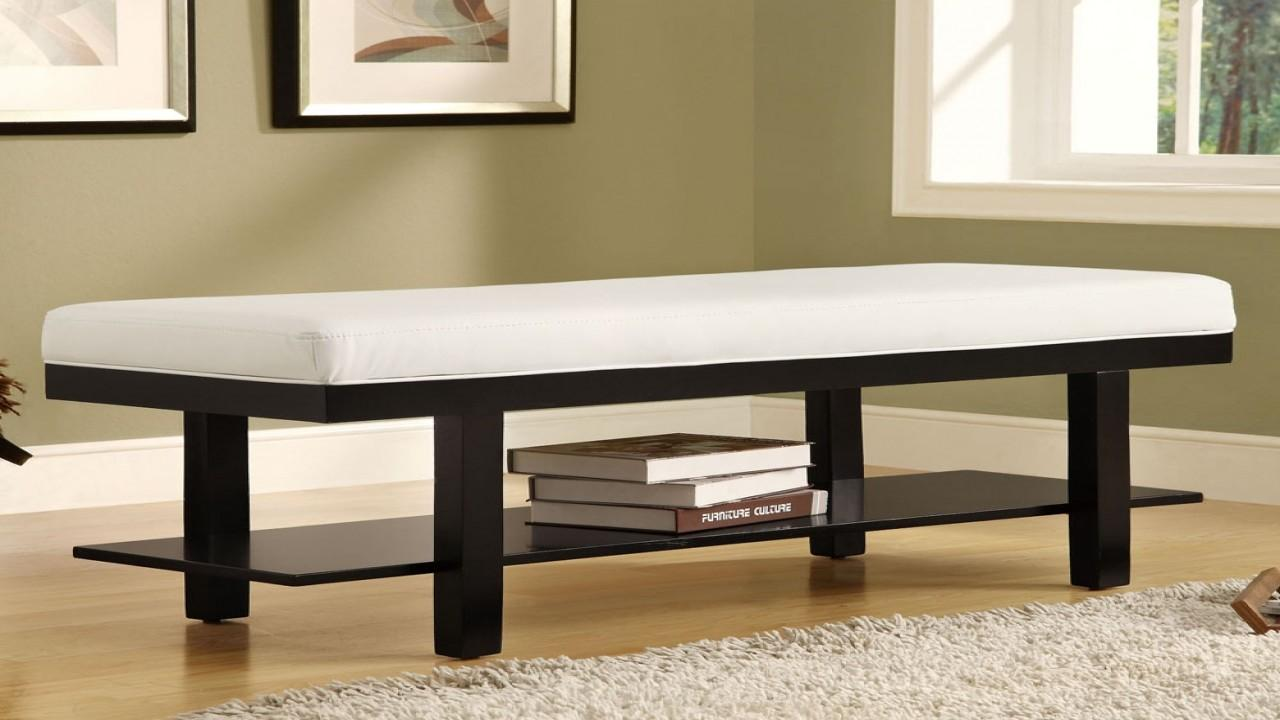 Leather Upholstered Bench Small Entryway Modern