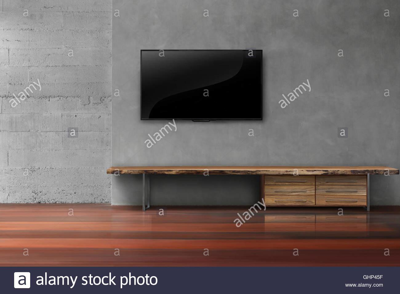 Led Concrete Wall Wooden Furniture Empty