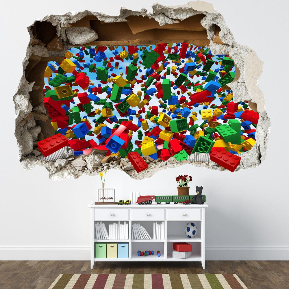 Lego Smashed Wall Sticker Bedroom Bricks Boys