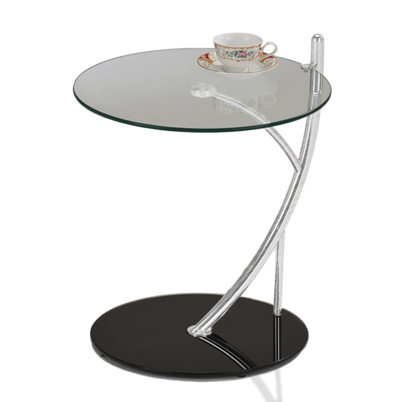 Leick Round Glass Contemporary Sofa Serving Table
