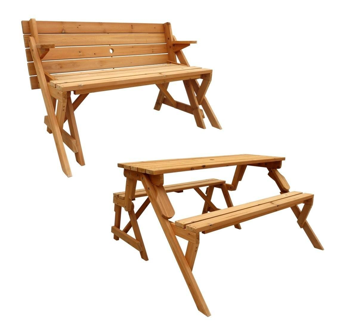 Leisure Season Folding Picnic Table Into Bench Solid Wood