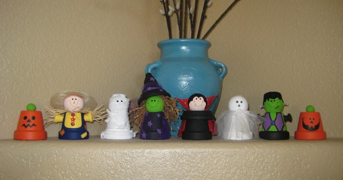 Leslie Latest Creations Clay Pot Halloween Characters