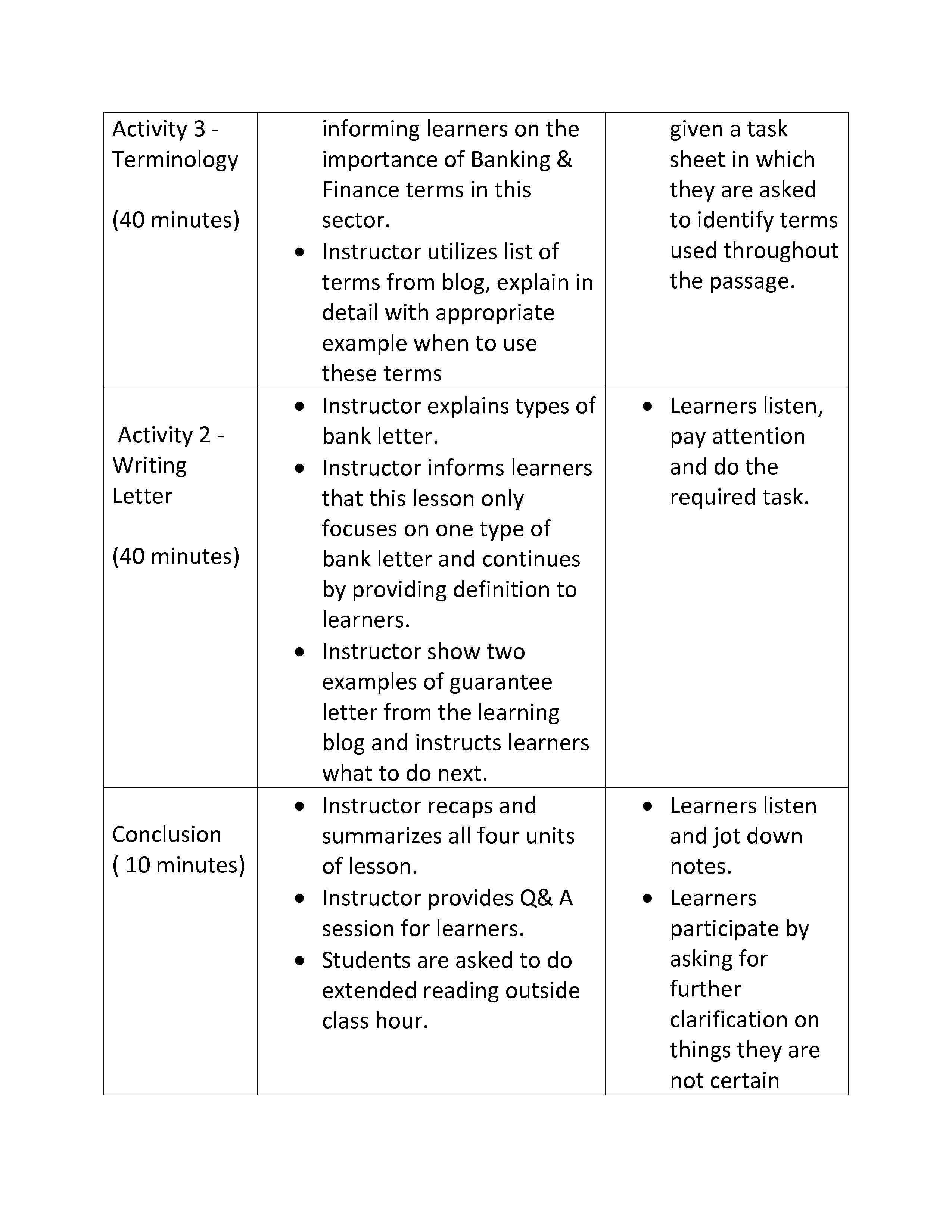 Lesson Plan Banking Finance English Made Easy