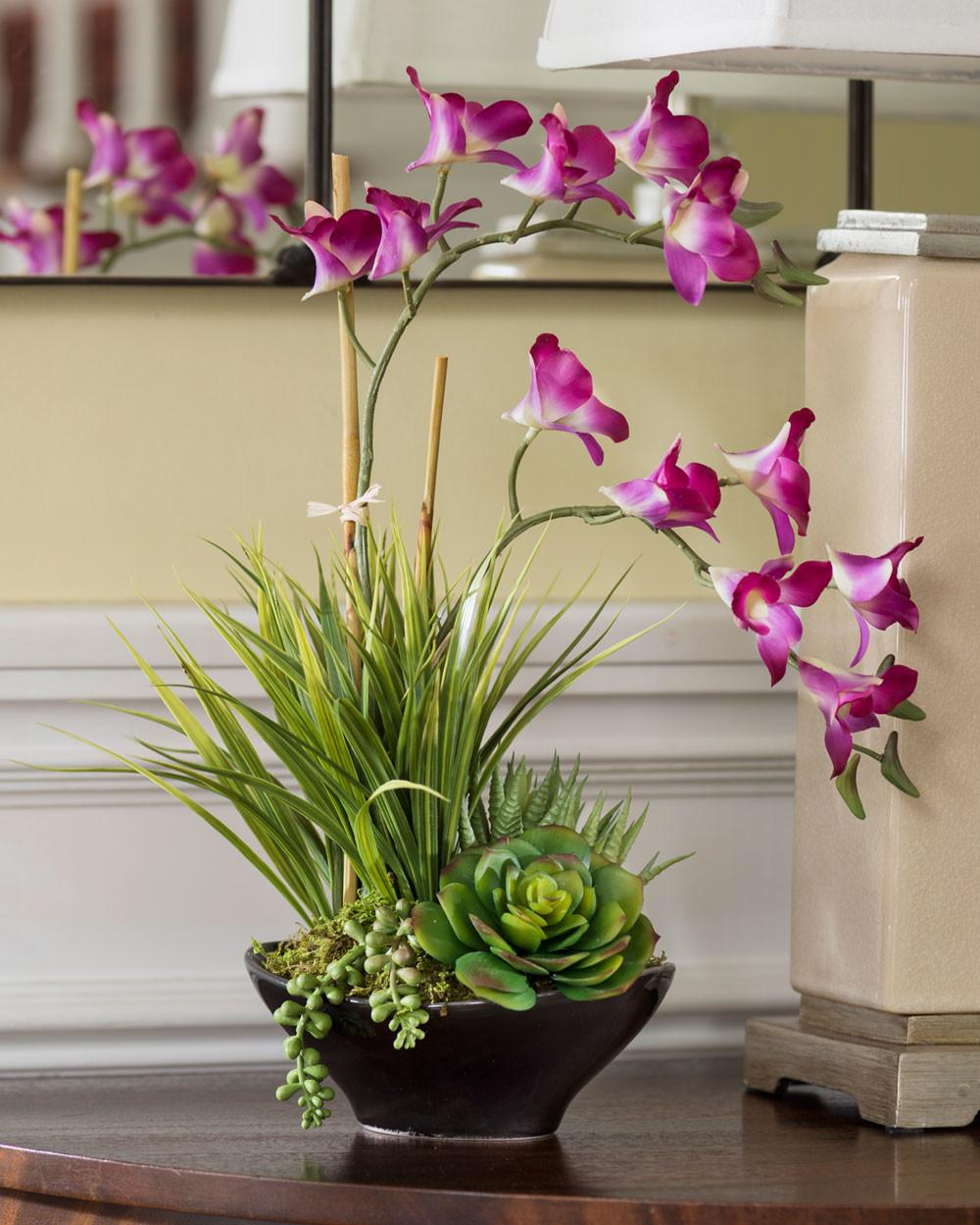 Lifelike Dendrobium Orchids Succulents Accent Planter