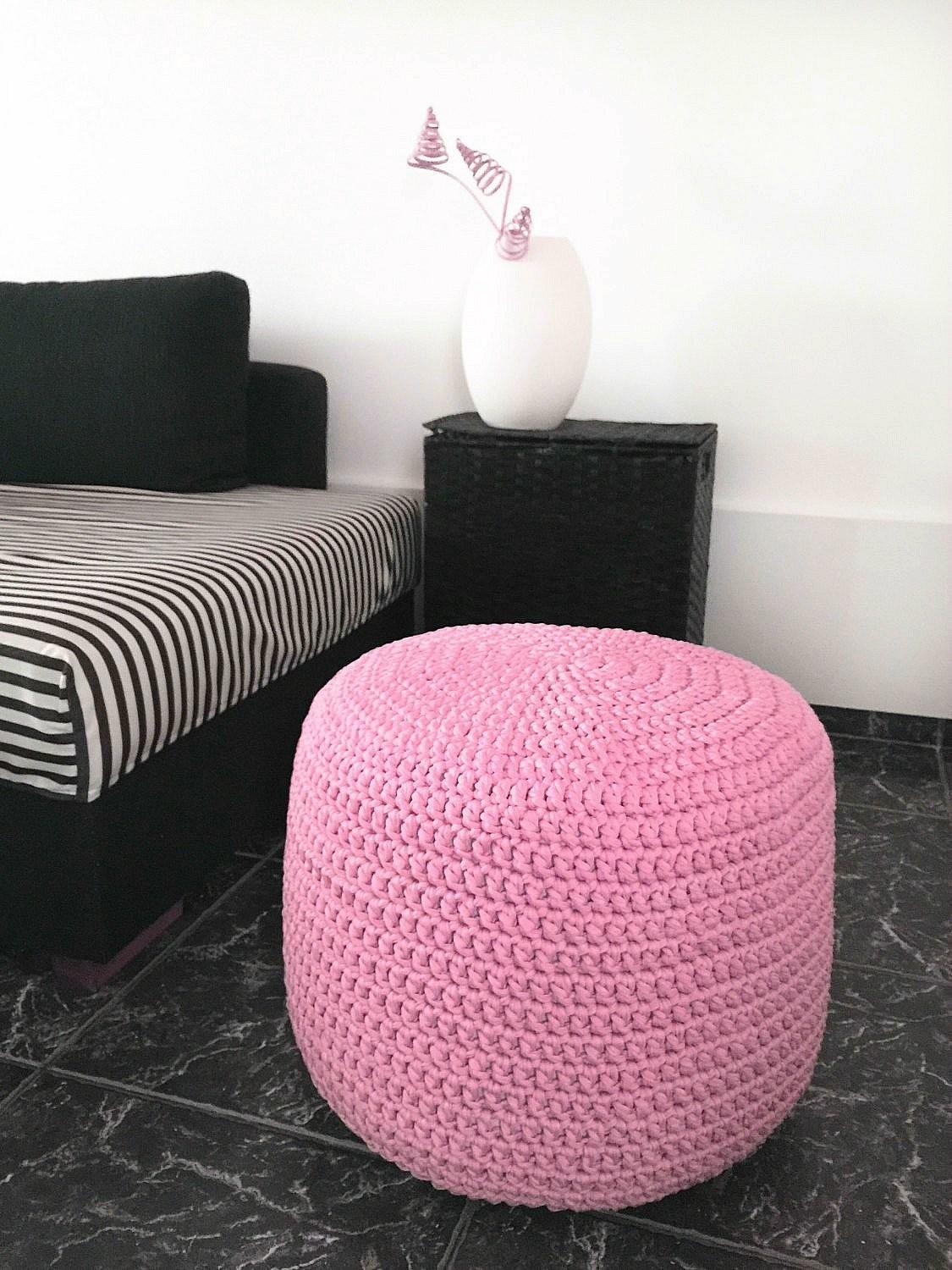 light baby pink ottoman pouf nursery foot rest