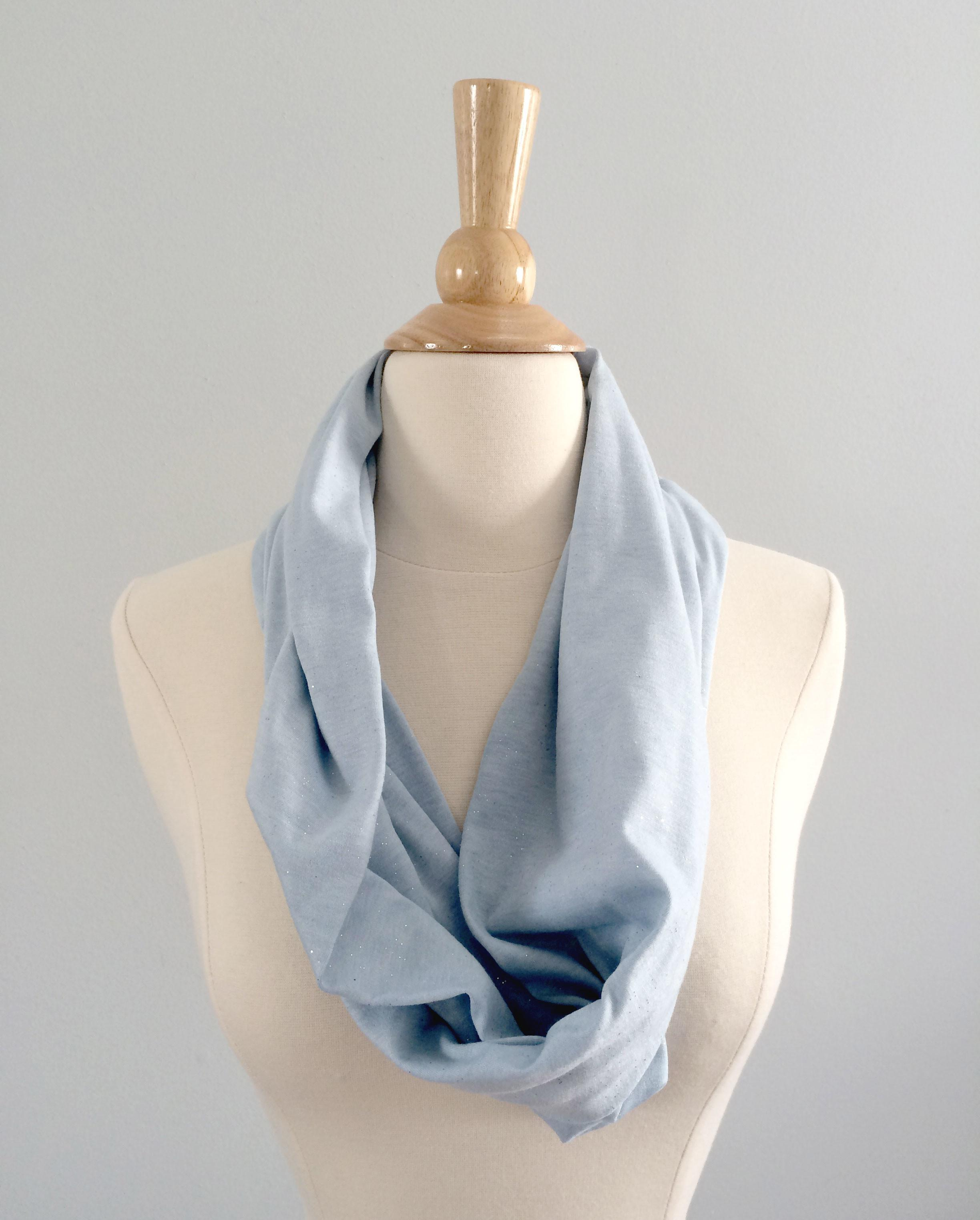 Light Blue Sparkle Spring Summer Infinity Scarf