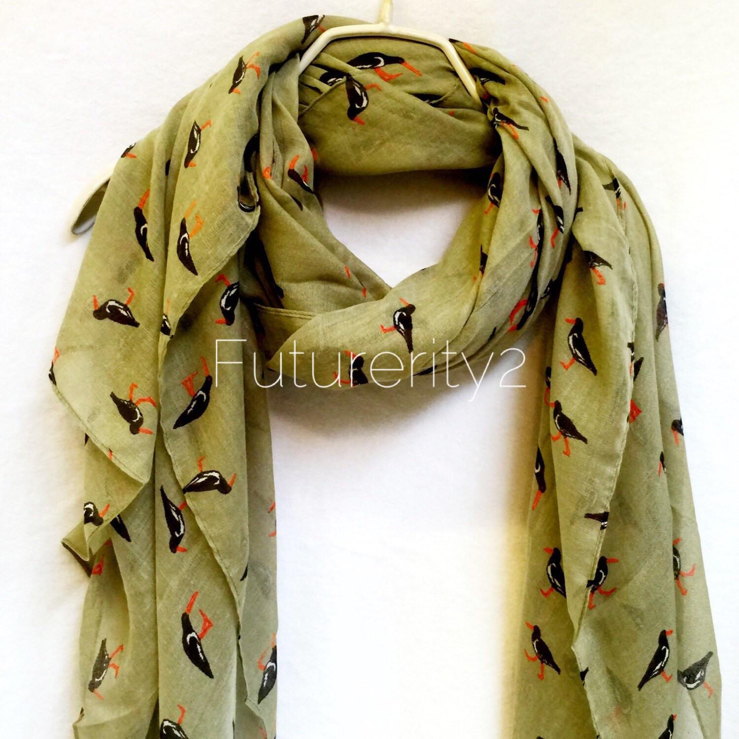 Light Green Shorebirds Spring Scarf Summer