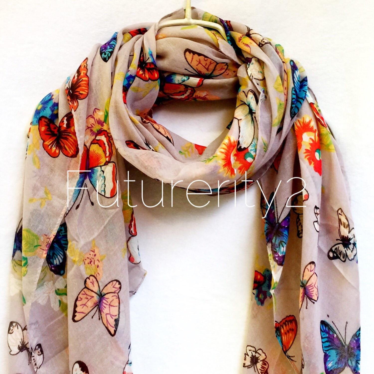 Light Grey Multi Colour Butterfly Spring Scarf Summer